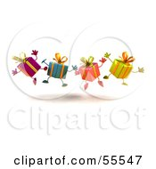 Royalty Free RF Clipart Illustration Of A Line Of Four 3d Present Characters Jumping Version 3 by Julos
