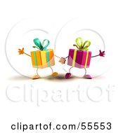 Royalty Free RF Clipart Illustration Of Two 3d Present Characters Holding Hands Version 1