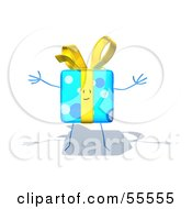 Royalty Free RF Clipart Illustration Of A Blue 3d Gift Character With Open Arms Version 3 by Julos