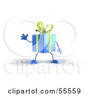Royalty Free RF Clipart Illustration Of A 3d Blue Present Character Waving by Julos