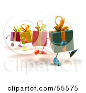 Royalty-Free (RF) Clipart Illustration of a Group Of Four 3d Present Characters Walking Right - Version 3 by Julos