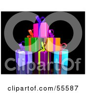 Royalty Free RF Clipart Illustration Of A Pile Of Colorful Gifts With Ribbons And Bows Version 3 by Julos