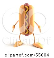 Royalty Free RF Clipart Illustration Of A 3d Hot Dog With Mustard Character Facing Front Version 1 by Julos