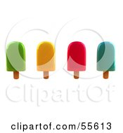 Royalty Free RF Clipart Illustration Of A 3d Group Of Ice Lollies Version 4