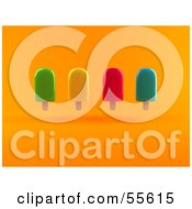Royalty Free RF Clipart Illustration Of A 3d Group Of Ice Lollies Version 1