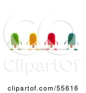 Poster, Art Print Of 3d Ice Lolly Characters Facing Front - Version 1