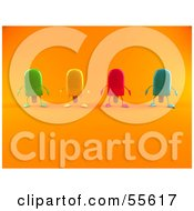 Royalty Free RF Clipart Illustration Of 3d Ice Lolly Characters Facing Front Version 2