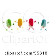 Poster, Art Print Of 3d Ice Lolly Characters Jumping - Version 1