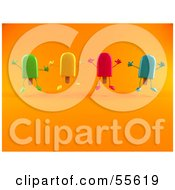 Poster, Art Print Of 3d Ice Lolly Characters Jumping - Version 2