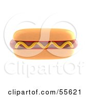 Royalty Free RF Clipart Illustration Of A 3d Hot Dog Garnished With A Squirt Of Mustard Version 1