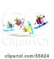 Royalty Free RF Clipart Illustration Of A Group Of Four 3d Present Characters Snowboarding Version 6 by Julos