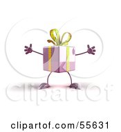 Royalty Free RF Clipart Illustration Of A 3d Purple Present Character With Open Arms Version 1 by Julos