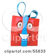 Royalty Free RF Clipart Illustration Of A Red 3d Present Head Character by Julos