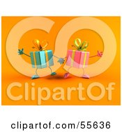 Royalty Free RF Clipart Illustration Of Two 3d Present Characters Holding Hands Version 2