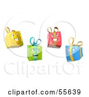 Royalty Free RF Clipart Illustration Of Four Yellow Green Red And Blue 3d Present Head Characters by Julos