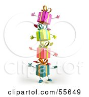 Royalty Free RF Clipart Illustration Of A Group Of Four 3d Present Characters Standing On Top Of Each Other Version 1 by Julos