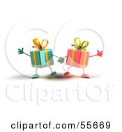 Royalty Free RF Clipart Illustration Of Two 3d Present Characters Holding Hands Version 3