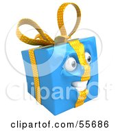 Royalty Free RF Clipart Illustration Of A Blue 3d Present Head Character Version 2 by Julos