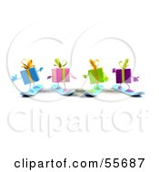 Royalty Free RF Clipart Illustration Of A Group Of Four 3d Present Characters Snowboarding Version 4 by Julos