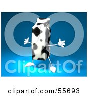 Royalty Free RF Clipart Illustration Of A 3d Cow Patterned Milk Carton Character Holding Its Arms Out Version 1