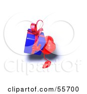 Royalty Free RF Clipart Illustration Of A Romantic 3d Red Heart Character Carrying A Present Version 11 by Julos