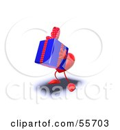Royalty Free RF Clipart Illustration Of A Romantic 3d Red Heart Character Carrying A Present Version 9 by Julos