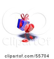 Romantic 3d Red Heart Character Carrying A Present Version 12 by Julos