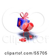Royalty Free RF Clipart Illustration Of A Romantic 3d Red Heart Character Carrying A Present Version 10 by Julos