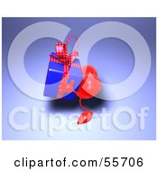 Royalty Free RF Clipart Illustration Of A Romantic 3d Red Heart Character Carrying A Present Version 5 by Julos