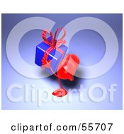 Royalty Free RF Clipart Illustration Of A Romantic 3d Red Heart Character Carrying A Present Version 1 by Julos