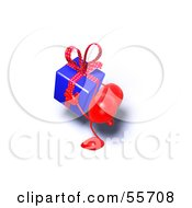 Royalty Free RF Clipart Illustration Of A Romantic 3d Red Heart Character Carrying A Present Version 7 by Julos