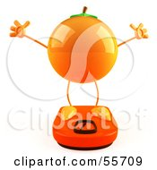 Royalty Free RF Clipart Illustration Of A 3d Naval Orange Character Standing On A Scale Version 4