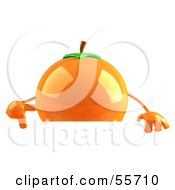 Royalty Free RF Clipart Illustration Of A 3d Naval Orange Character Pointing Down At And Standing Behind A Blank Sign by Julos