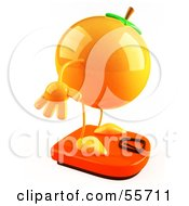 Royalty Free RF Clipart Illustration Of A 3d Naval Orange Character Standing On A Scale Version 2