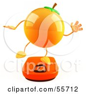 Royalty Free RF Clipart Illustration Of A 3d Naval Orange Character Standing On A Scale Version 3