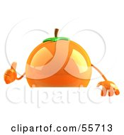 Royalty Free RF Clipart Illustration Of A 3d Naval Orange Character Giving The Thumbs Up And Standing Behind A Blank Sign