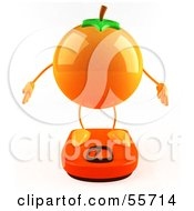 Royalty Free RF Clipart Illustration Of A 3d Naval Orange Character Standing On A Scale Version 1