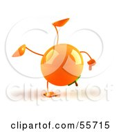 Royalty Free RF Clipart Illustration Of A 3d Naval Orange Character Doing A Cartwheel Version 1 by Julos