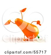 3d Carrot Character Doing A Cartwheel - Version 1