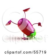 3d Eggplant Character Doing A Cartwheel Version 1 by Julos