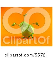 Royalty Free RF Clipart Illustration Of A 3d Green Bell Pepper Character Doing A Cartwheel Version 2