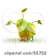 3d Green Bell Pepper Character Doing A Cartwheel Version 1 by Julos