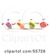 Line Of 3d Eggplant Carrot Bell Pepper And Tomato Characters Doing Cartwheels Version 1 by Julos