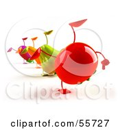 Line Of 3d Eggplant Carrot Bell Pepper And Tomato Characters Doing Cartwheels Version 2 by Julos