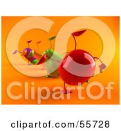 Line Of 3d Eggplant Carrot Bell Pepper And Tomato Characters Doing Cartwheels Version 4 by Julos
