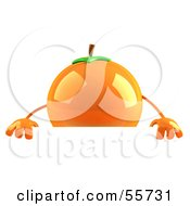 3d Naval Orange Character Standing Behind A Blank Sign