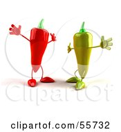 Royalty Free RF Clipart Illustration Of 3d Green And Red Chili Pepper Characters Going In For Hugs by Julos