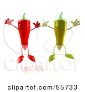 Royalty Free RF Clipart Illustration Of 3d Green And Red Chili Pepper Characters Jumping Version 2 by Julos