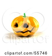 Royalty Free RF Clipart Illustration Of A Shiny 3d Ceramic Halloween Pumpkin Version 1