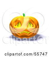 Royalty Free RF Clipart Illustration Of A Smiling 3d Halloween Pumpkin Version 3